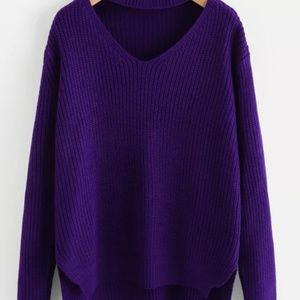 Purple choker scoop neck oversized sweater *NEW*
